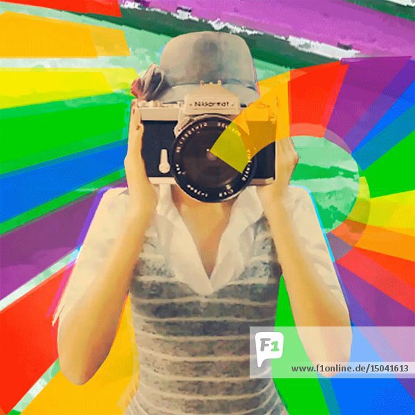 Young Adult Woman Looking through Camera Viewfinder against Colorful Abstract Background Animation