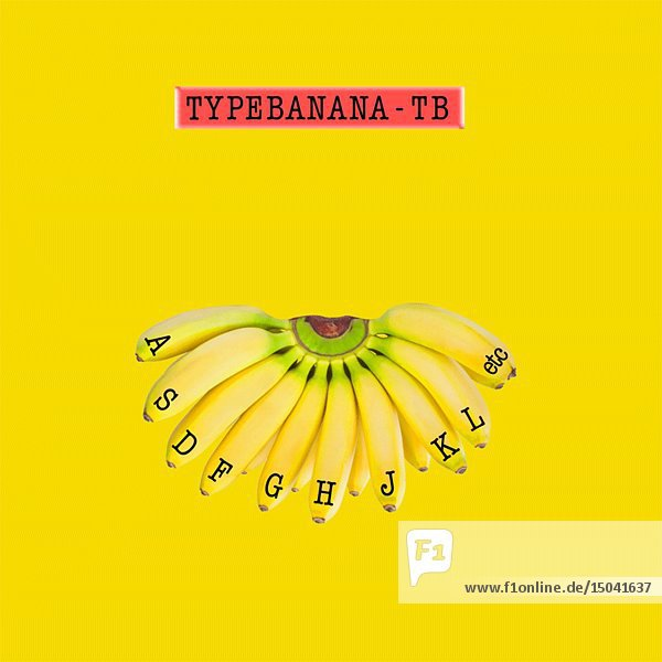 Type Banana - TB/Bananas as Typewriter Keys against Yellow Background Animation