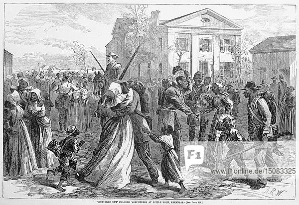 Mustered Out Colored volunteers at Little Rock  Arkansas  from Harper's Weekly  pub. 1866. Creator: Alfred Rudolph Waud (1828 -91).