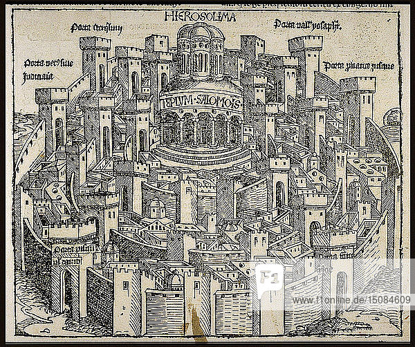 Jerusalem (from the Schedel's Chronicle of the World)  ca 1493. Creator: Wolgemut  Michael (1434-1519).