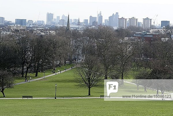View from the top of Primrose Hill Park  looking towards the City of London  NW1  England. Creator: Ethel Davies;Davies  Ethel.