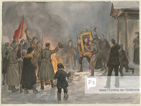 Soldiers burning paintings (from the series of watercolors Russian revolution)  1917. Artist: Vladimirov  Ivan Alexeyevich (1869-1947)