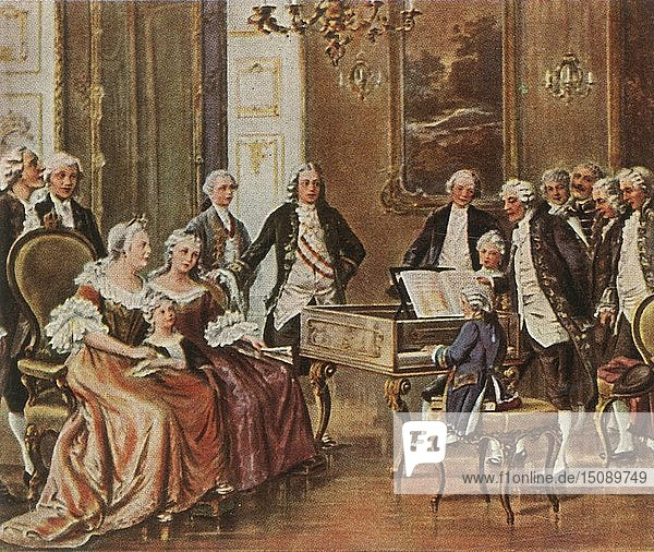 Mozart performs for Empress Maria Theresia  1 October 1762  (1936). Creator: Unknown.