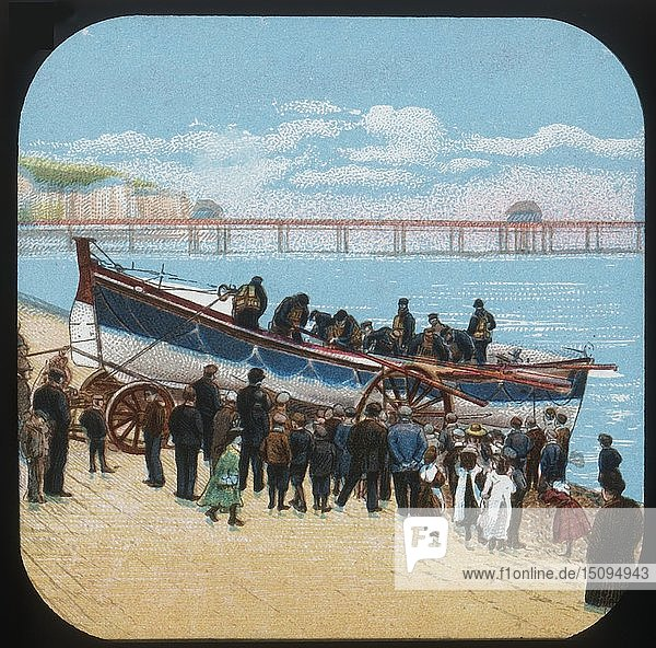 'Launching the Life-boat'  c1900. Creator: Unknown.