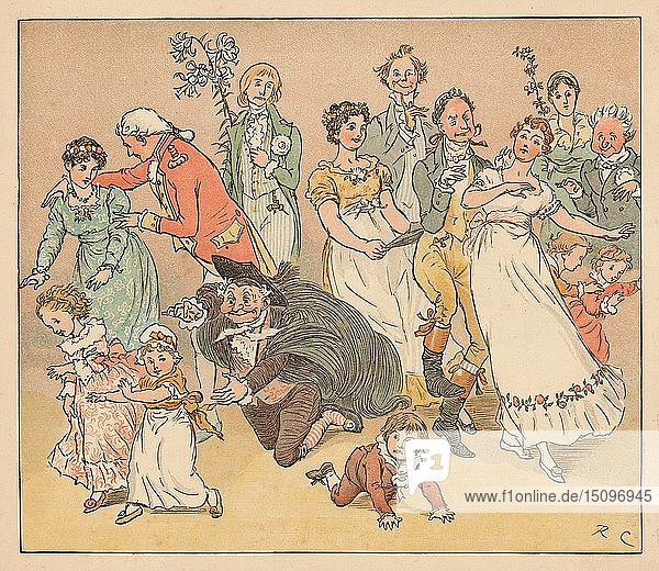 '...and they all fell to playing the game of catch-as-catch-can...'  c1885  (1934). Creator: Randolph Caldecott.