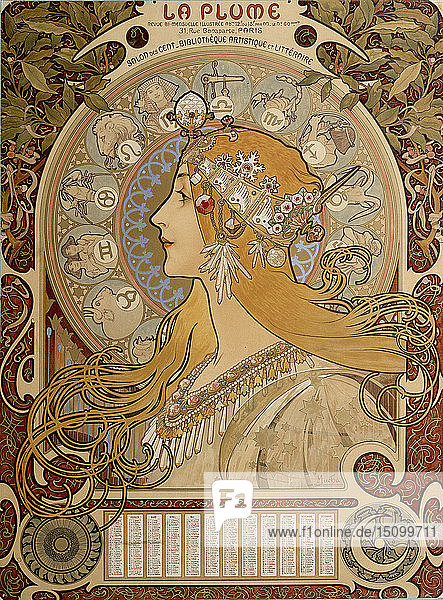 Zodiacal calendar  1897. Artist: Alphonse Mucha