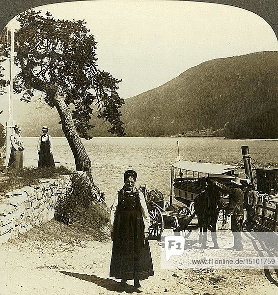 'When the lake steamer calls at Tinoset pier - view across Tinsjo to the hills  Norwway'  c1905. Creator: Unknown.