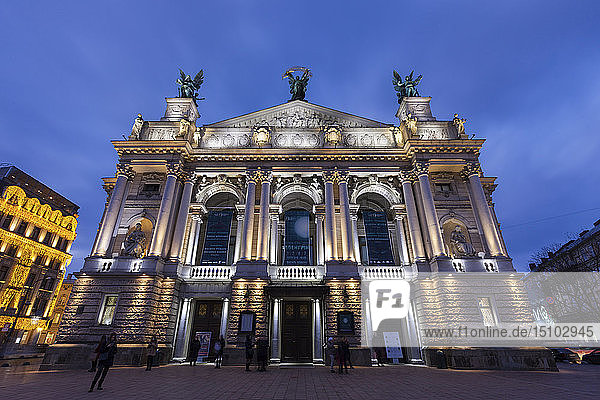 Low angle view of Lviv Theatre of Opera and Ballet at sunset in Lviv  Ukraine