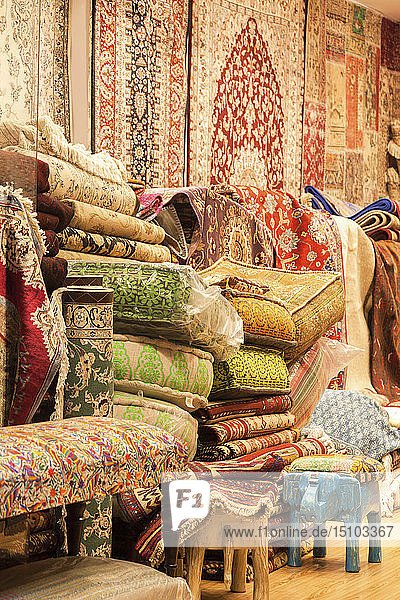 Rugs and cushions at market in Manama  Bahrain