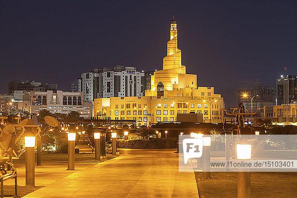 Abdulla Bin Zaid Al Mahmoud Islamic Cultural Center at night in Doha  Qatar