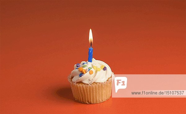 Cupcake with Candle Blowing out