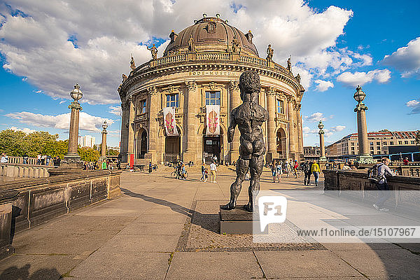 Germany  Berlin  view to Bode Museum with sculpture 'Hector' of Markus Luepertz in the foreground