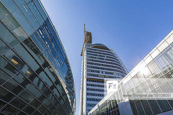 Germany  Bremen  Bremerhaven  The Harbour Worlds  Klimahaus  Science Center  Atlantic Hotel Sail City  low angle view