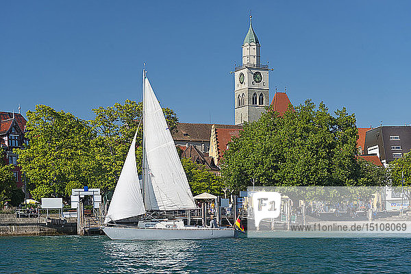 Pier with minster and sailing boat,  Ueberlingen,  Lake Constance,  Germany