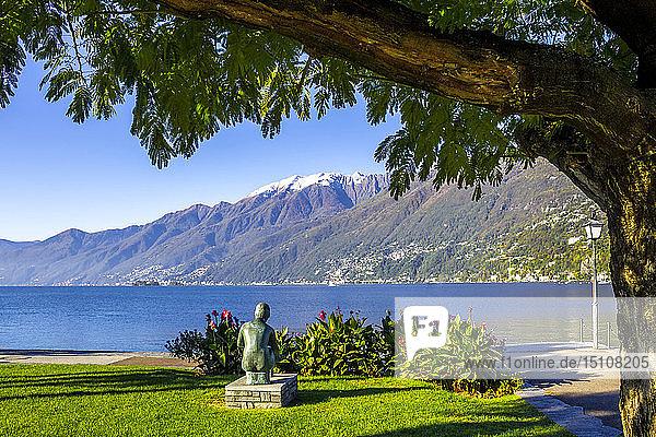 Statue of a woman at the promenade at Lago maggiore  Ascona  Ticino  Switzerland