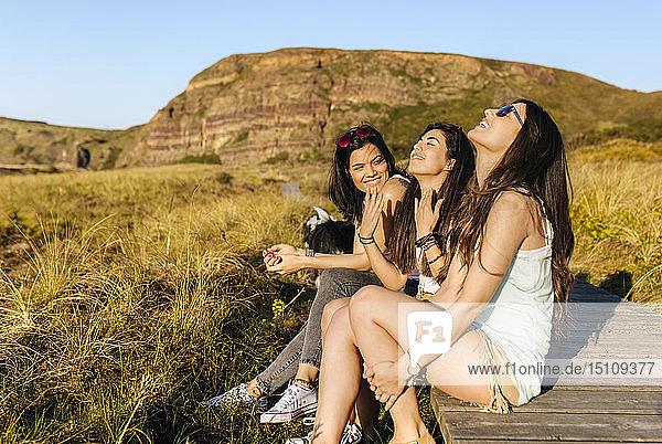 Three happy women with dog sitting on boardwalk in dunes