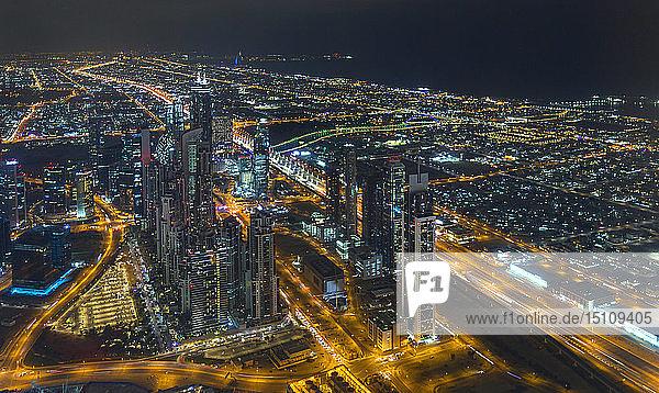 United Arab Emirates,  Dubai,  Sheikh Zayed Road at night