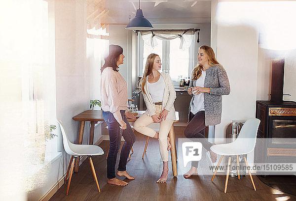 Mutter und Töchter stehen in der Küche  unterhalten sich  trinken Kaffee