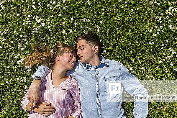 Glückliches junges Paar entspannt auf Gras in einem Park  Blick von oben