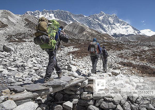 Nepal  Solo Khumbu  Everest  Group of mounaineers hiking at Dingboche