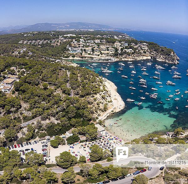 Spain  Mallorca  Palma de Mallorca  Aerial view of Region Calvia and El Toro  Portals Vells