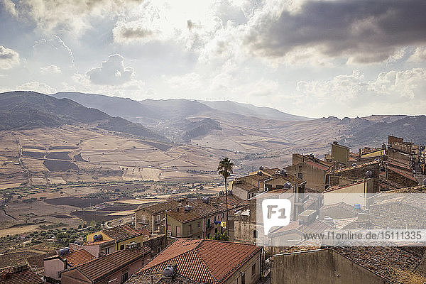 Italy,  Sicily,  view over Sperlinga