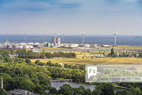 View of Provestenen with wind turbines  Copenhagen  Denmark