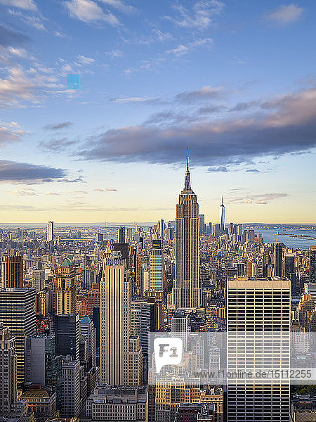 Lower and Midtown Manhattan skyline at sunrise  New York City  New York  United States