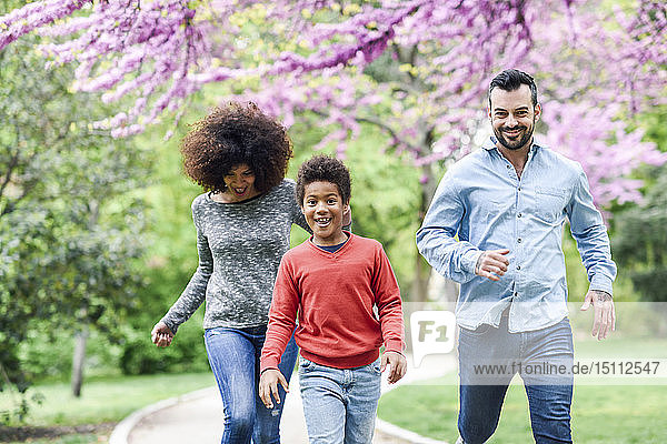 Glückliche Familie beim Laufen und Spielen in einem Park