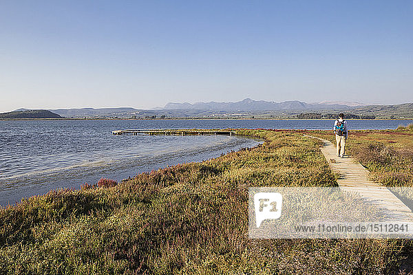 Greece  Messenia  Gialova Lagoon  hiker on the nature trail
