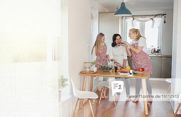 Mutter und Töchter stehen in der Küche  bereiten Essen vor  hacken Gemüse