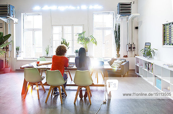 Rear view of two women working in modern office with video projector on table