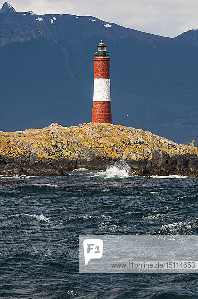Lighthouse on an Island in the Beagle channel  Ushuaia  Tierra del Fuego  Argentina  South America