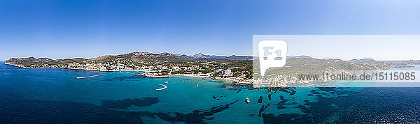 Spain  Majorca  Costa de la Calma  aerial view over Peguera with hotels and beaches
