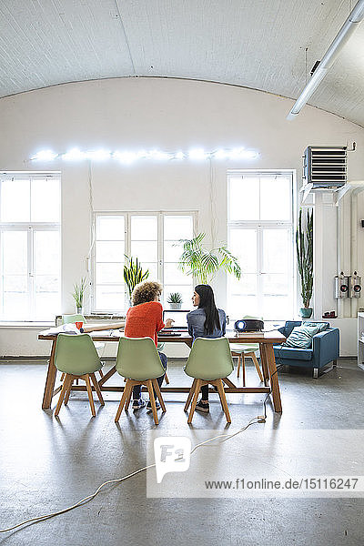 Rear view of two women working at table in modern office