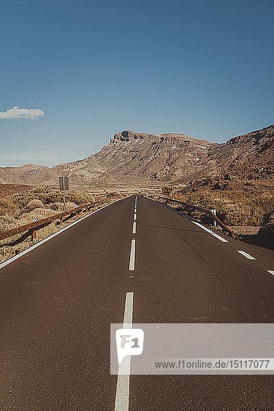 Empty road in Teide National Park  Tenerife  Spain