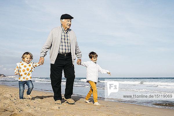 Großvater  der mit seinen Enkelkindern Hand in Hand am Strand spazieren geht