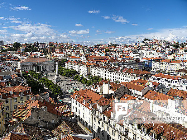 View over the city with Rossio Square and Dom Pedro IV monument  Lisbon  Portugal