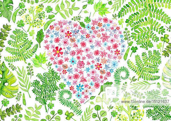 Herz voller Liebe  Aquarellmalerei
