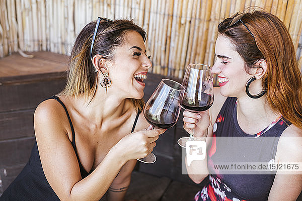 Two happy women having a glass of red wine at a bar