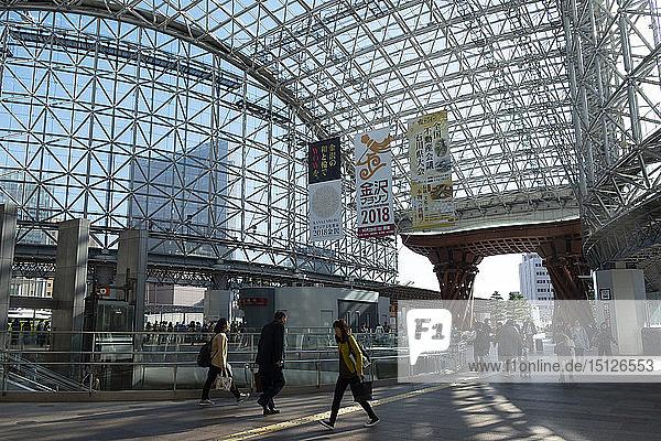 A wooden gate and steel and glass roof at the east entrance to the Kanazawa JR railway station  Kanazawa  Ishigawa  Japan  Asia