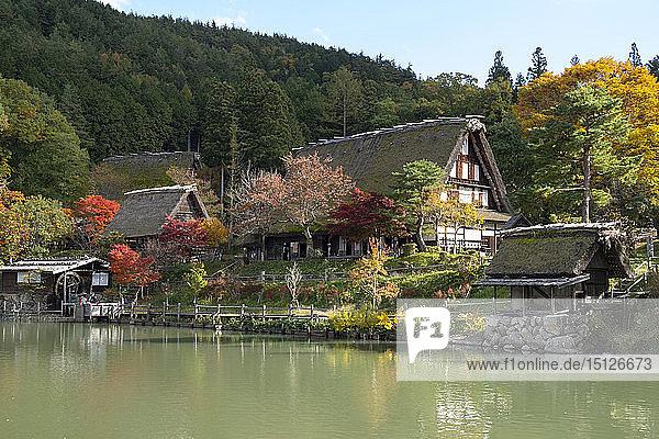 Autumn foliage and traditonal thatched buildings around a lake at Hida Folk Village  Hida No Sato  Takayama  Honshu  Japan  Asia