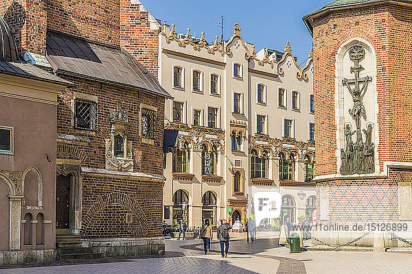 St. Marys Square in the medieval old town  UNESCO World Heritage Site  Krakow  Poland  Europe