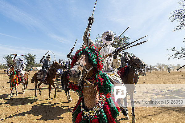 Colourful horse rider at a Tribal festival  Sahel  Chad  Africa