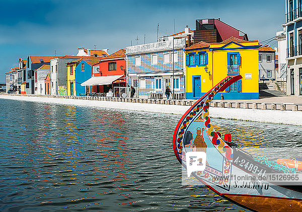 Colourful decorative Moliceiro boat  typical to the town of Aveiro in Central Portugal  Europe
