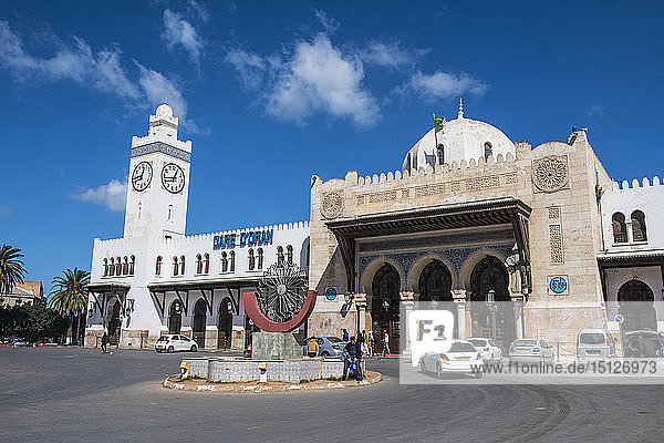 Beautiful colonial railway station of Oran  Algeria  North Africa  Africa