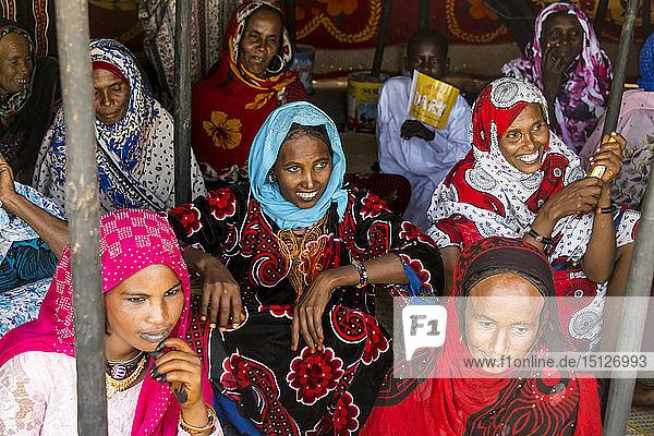 Very colourful dressed Toubou women  tribal festival  Place de la Nation  N'Djamena  Chad  Africa
