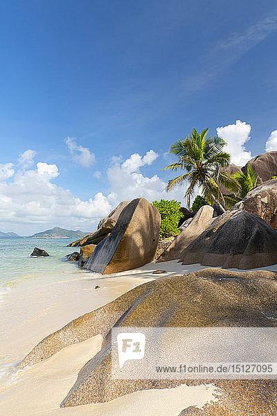 Distinctive limestone rock formations on Anse Source d'Argent  La Digue  Seychelles  Indian Ocean  Africa