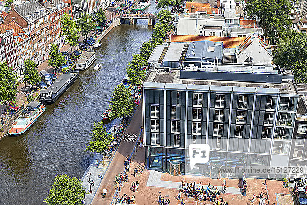 Aerial view of the Anne Frank House in Amsterdam  North Holland  The Netherlands  Europe