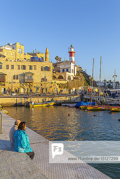 View of Jaffa Old Town harbour at sunset  Tel Aviv  Israel  Middle East